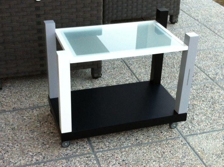 NEW YORK Tavolino con ruote in legno laccato Lellamattadesign
