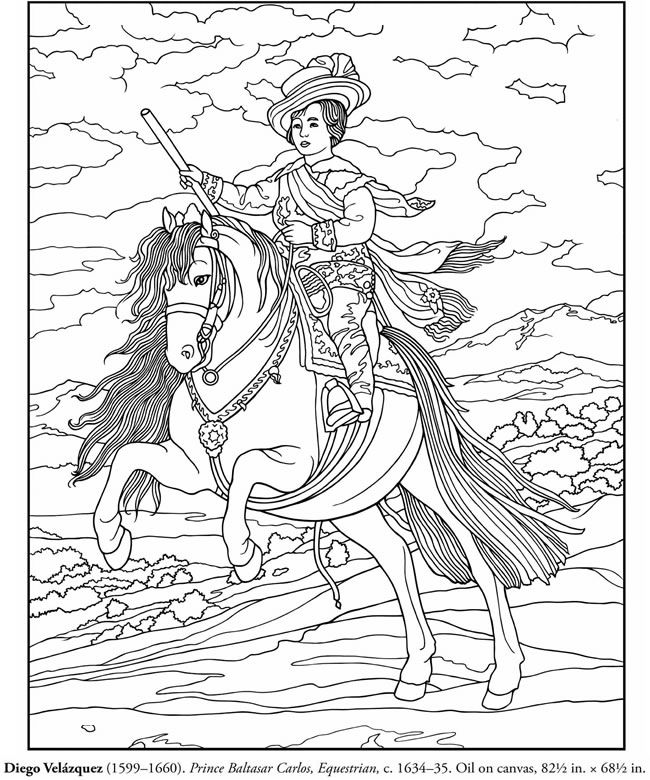 Horse Coloring Page. Copy of Velazquez's impressionist painting to color