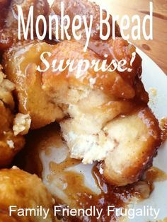 Recipe for Monkey Bread: An easy recipe for monkey bread, with a creamy twist. - http://www.familyfriendlyfrugality.com/monkey-bread-recipe-monkey-bread-surprise/