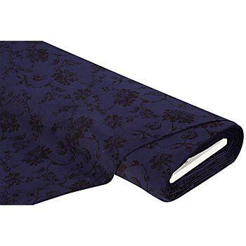 """Baumwollsamt """"Elegance"""" mit Blumenprint, leicht querelastisch, Farbe: blau/schwarz, Motivgröße große Blüte: 6,5 x 5 cm, Breite: 160 cm, Gewicht: ca. 295 g/m². Material: 96 % Baumwolle, 4 % Elasthan. hochwertiger Baumwollsamt mit Stretch-Anteil für klassische Mode mit PfiffEin festlicher Rock, eine schicke Hose oder ein klassischer Blazer? Aus Baumwollsamt """"Elegance"""" zaubern Sie die sch&ou..."""