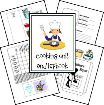 Free cooking unit and lap book designed for age 8-12