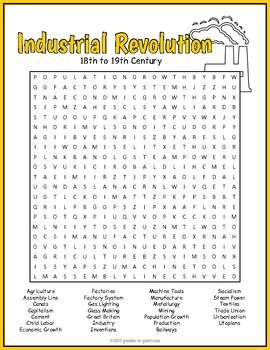 Use this entertaining word search activity when teaching a unit on the history of the Industrial Revolution in the United States.