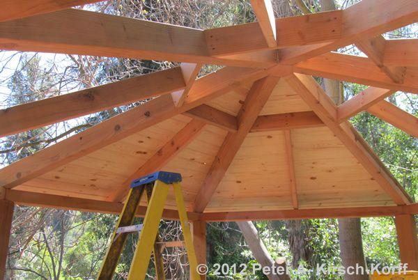 Ceiling Framing For A Large Custom Wooden Hexagonal Outdoor Dining & Entertaining Gazebo - Tarzana, CA