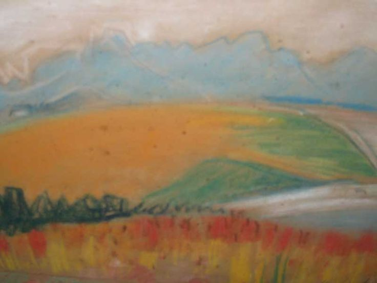 maggie laubser | Maggie Laubser (SA 1886 - 1975) Pastel, Farmlands, Signed & Dated '50 ...