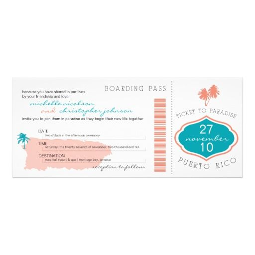 Boarding Pass to Puerto Rico Wedding Invitation DealsReview from Associated Store with this Deal...