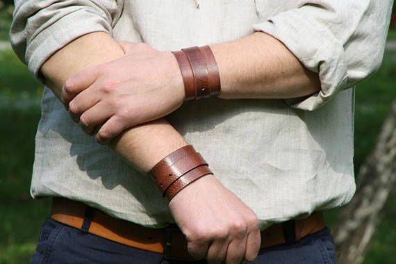 Leather wrist cuff for working men