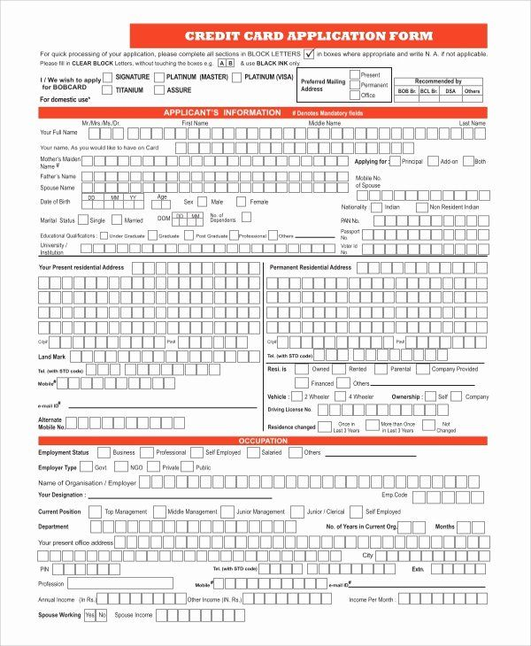 Automobile Credit Application Form New Sample Credit Application Form 8 Examples In Word Credit Card Application Form Business Template Credit Card Application