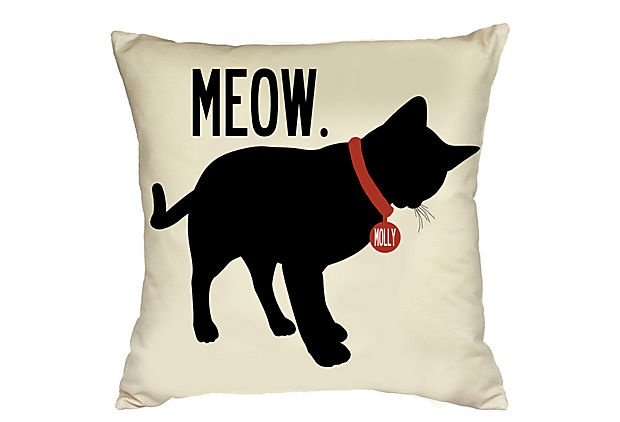 Personalized Meow PIllow: Sands, Personalized Cat, Names Tags, One King Lane, Cat Meow, Cat 20X20, Uptown Artworks, Personalized Pillows, 20X20 Pillows
