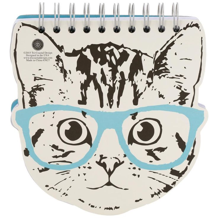 This nerd kitty looks purr ty cool as a pop art pussycat in this feline-face shaped spiral notebook! Featuring colored cat-eye glasses and a light gray cat face on the front of each page, fill the inside with important notes and breaking mews