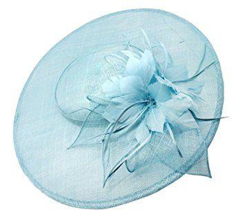 Large Pale Blue Sinamay Feather 41cm diameter Circular Hatinator Hat Hair Fascinator Headband - Fabulana