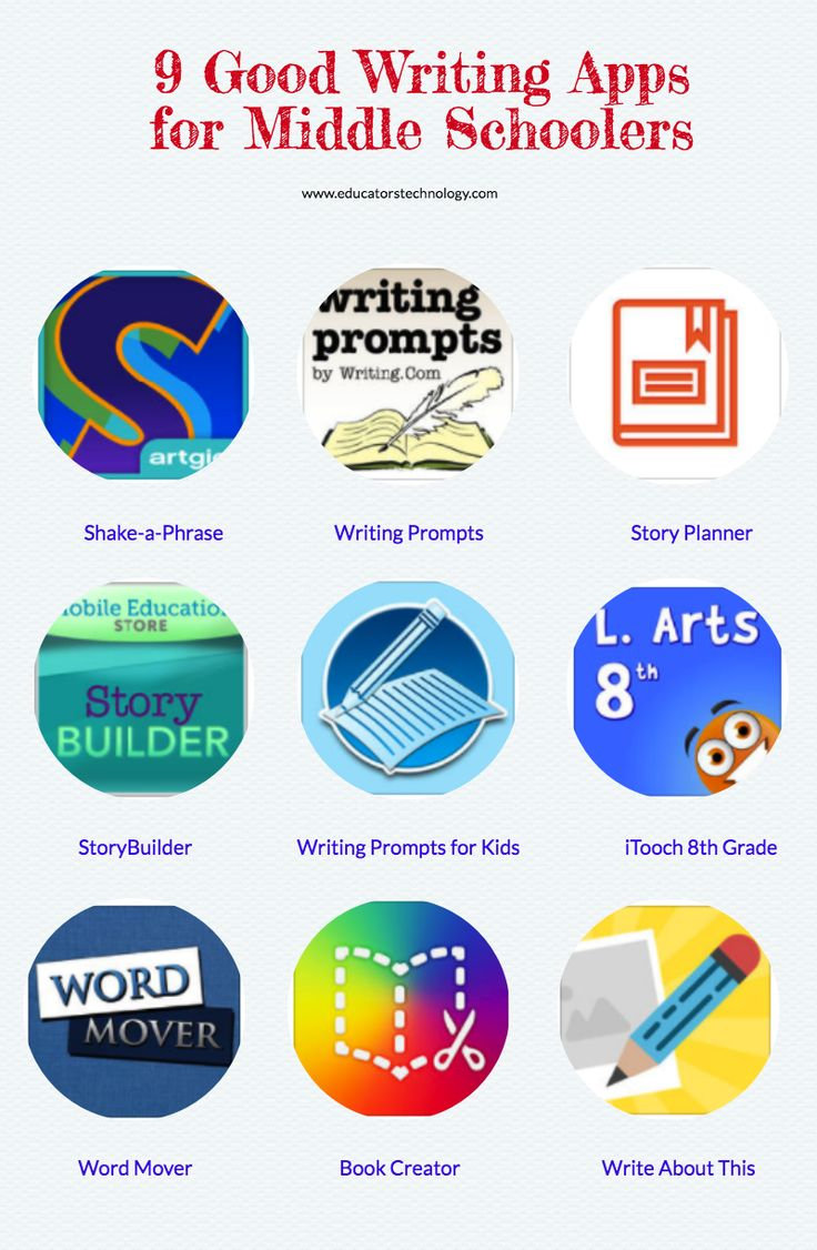 9 Good Writing Apps for Middle Schoolers - a collection of some good iPad apps to use with your middle school students. These are apps to help students enhance their writing skills and improve their grasp of language.