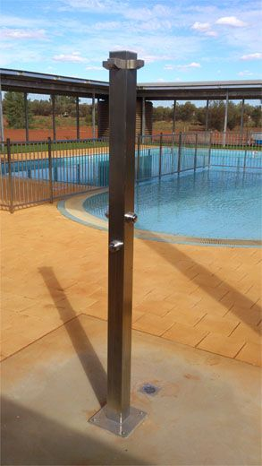 Rainware commercial outdoor shower at public pool in ayers for Pool showers
