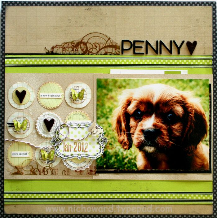 love the circles and hearts Pet love scrapbook layout