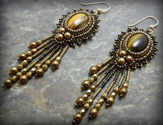 Tigereye Cabochons with Brass Bead Embroidered Earrings, Brown earrrings with Fringe, Fall colors, Birthstones, OOAK