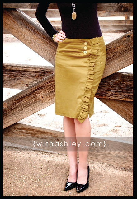 Side ruffle skirt  Need a pencil skirt, which is used to trace the shape to make the skirt