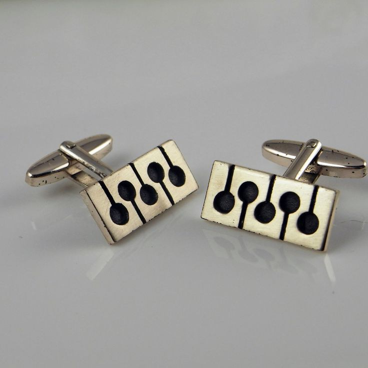 Mens Silver Cufflinks Cuff Links 1950s Modernist Minimalist Geometric Jewelry