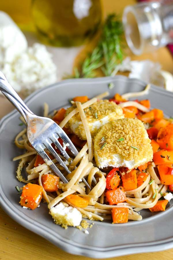 Crispy Baked Goat Cheese over Roasted Rosemary Squash and Garlicky Fettuccine - The Foodie and The Fix
