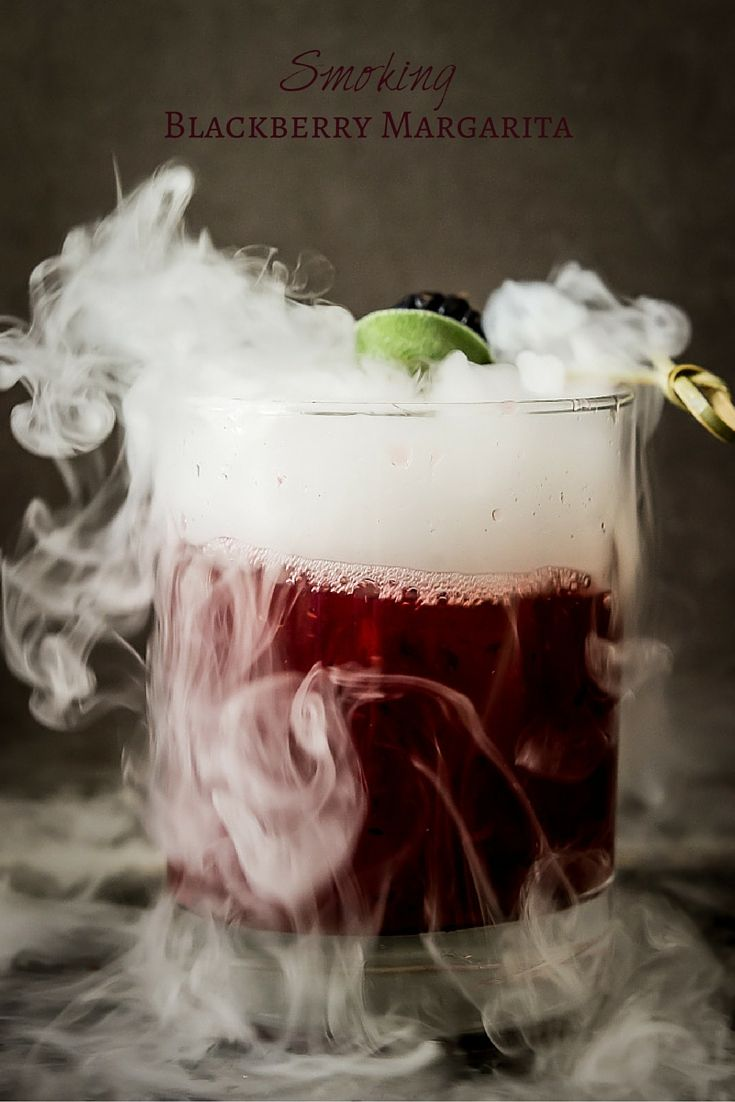 Smoking Blackberry Sage Margarita - The perfect Halloween cocktail @wickedspatula