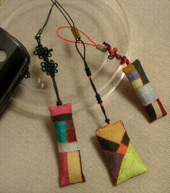Cell Phone Strap - about  1 × 5cm -  2005 Myonju,1 mm cord, strap parts, cotton Chogappo