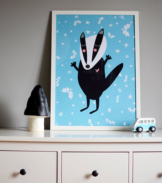 ARTIST INSPIRATION Badger - something for kids  MATERIAL DESCRIPTION * 170g paper * rolled and mailed in a sturdy tube mailer * print comes with