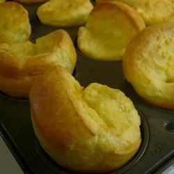 Just eggs, milk and flour, baked in muffin cups with melted butter -- a dozen easy Yorkshire puddings.