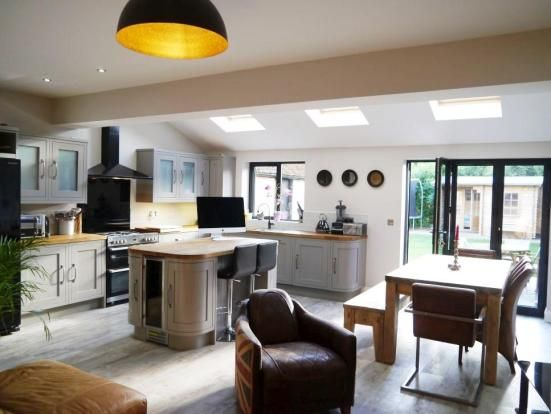 Fantastic rear semi detached house kitchen/living extension. I love the grey window frames and doors. The use of space is fantastic for such a small footprint