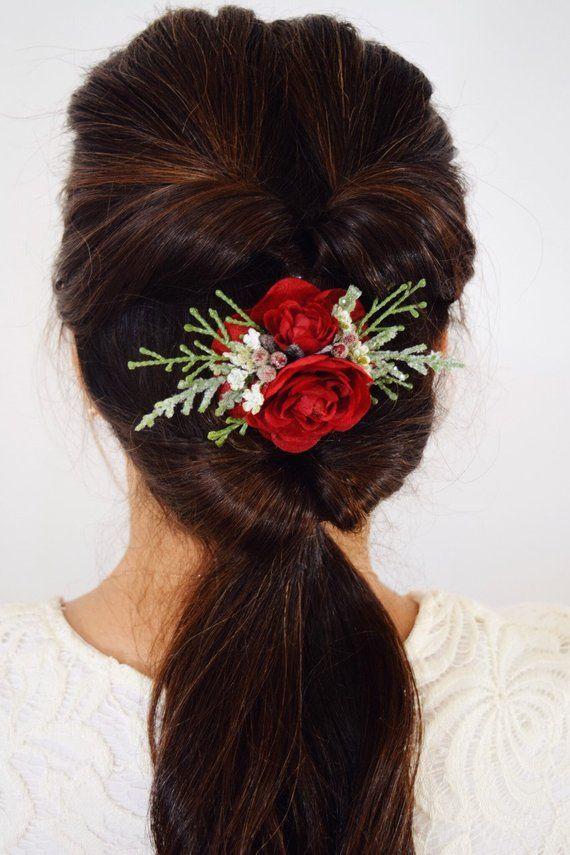 Red Flower Clip Hair Clip Valentine S Hair Clip Hair Accessory