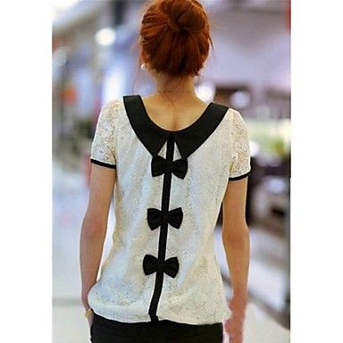 Women's Lace Turn Down Collar Bow Blouse - USD $ 12.49