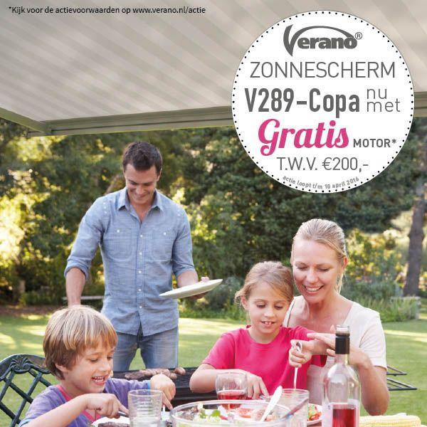 Profiteer van de voorjaarsactie en ontvang een gratis motor t.w.v. € 200,- bij aankoop van het Verano® zonnescherm Copa! #actie #voorjaar #zonnescherm