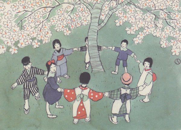竹久夢二-桜の木の周りで手をつなぐ子供たちを描いた「花ひらく」。
