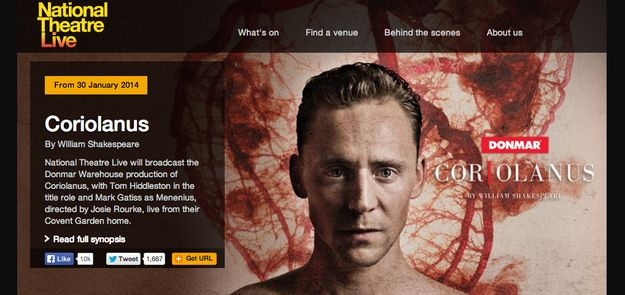 FYI, a live performance of Coriolanus will be screened in movie theaters across the world next week. Check for nearby screenings on the National Theatre Live website.