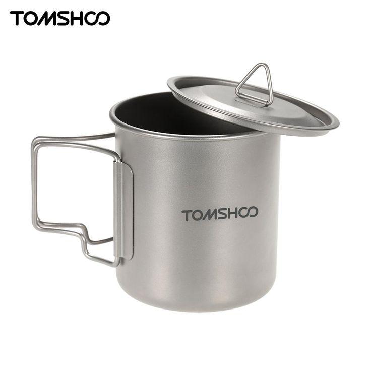 TOMSHOO Titan Tasse Camping Geschirr 300/400/420 ml Titan Becher Picknick Hitzebeständige Wasser Tasse mit tasche Freien Kochgeschirr Werkzeug