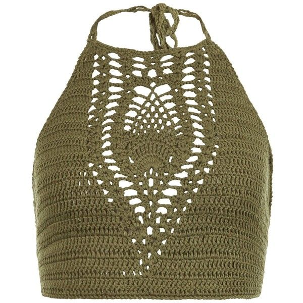 New Look Khaki Crochet Halter Neck Crop Top (£15) ❤ liked on Polyvore featuring tops, khaki, halter-neck tops, crop top, halter crop top, brown tops and crochet top