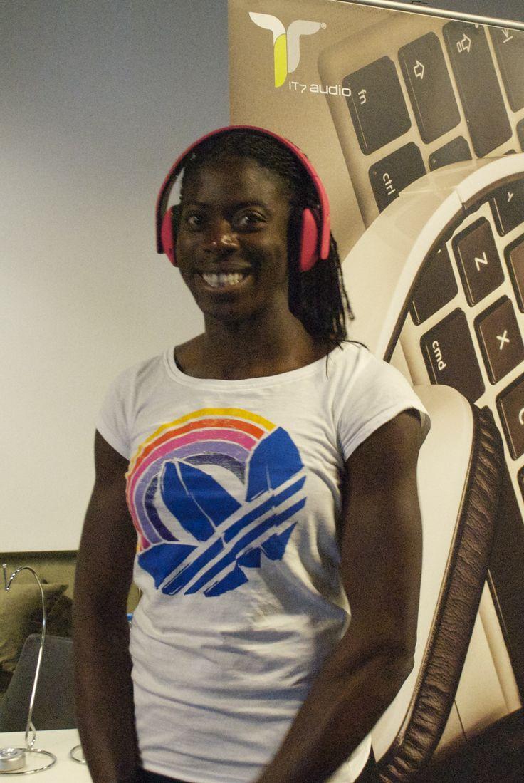 Christine Ohuruogu, British Athlete, Former World Champion for 400m, Wearing Pink iT7x2 Wireless Headphones