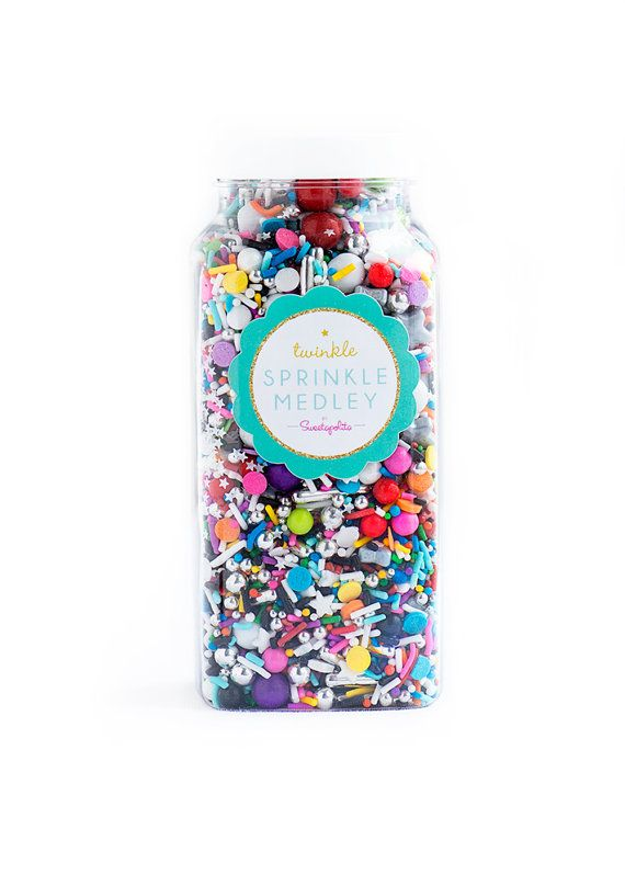 Glam Rock Twinkle Sprinkle Medley, Black and Rainbow, Black and Silver, Rainbow Sprinkles--Med 8oz