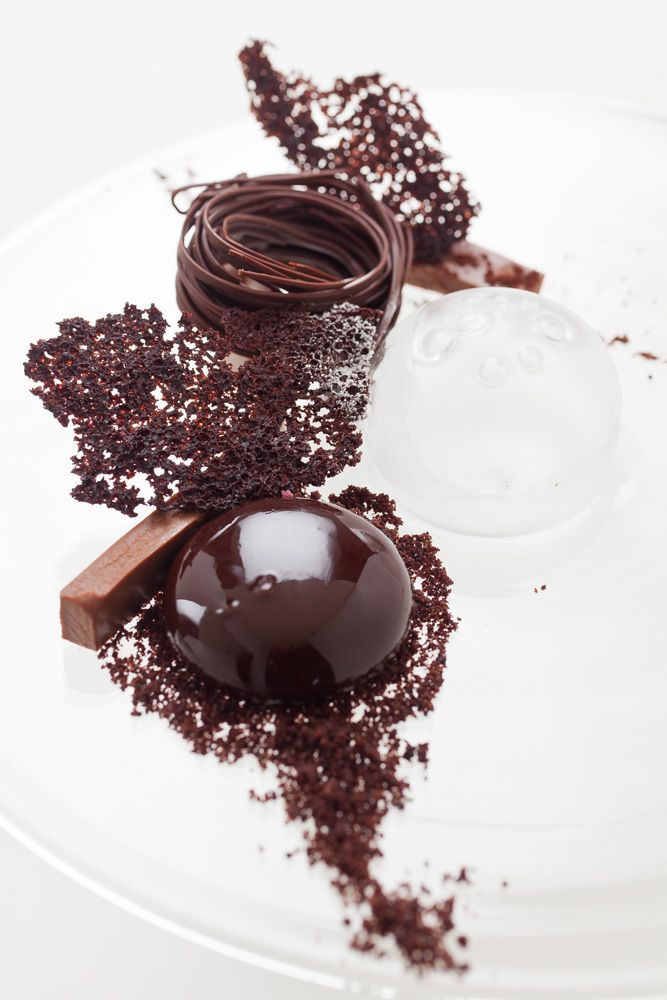 The Quenelle: Chocolate Sphere, Flexible Chocolate Ganache, Devil's Food Cake Shards and Crumbs, Chocolate Nest