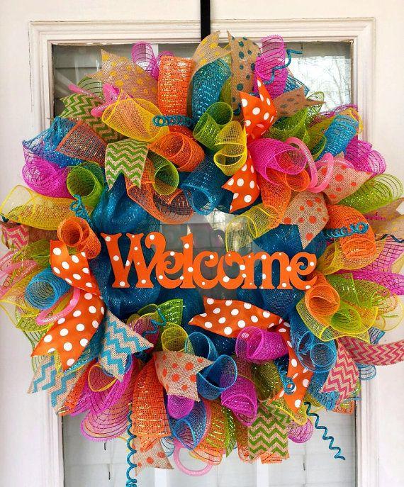Best 20 mesh wreaths summer ideas on pinterest for Diy summer wreath