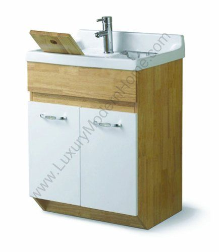 "sink ALEXANDER 24"" Utility Sink - Modern Mop Slop Tub Deep Sink Ceramic Laundry Room Vanity Cabinet Contemporary Hardwood Hard wood Oak - Utility Sink With Cabinet - Amazon.com"