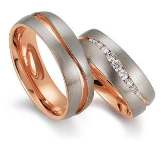 Rings in 18 Karat Rose Gold and Platinum 950 combination set with diamonds