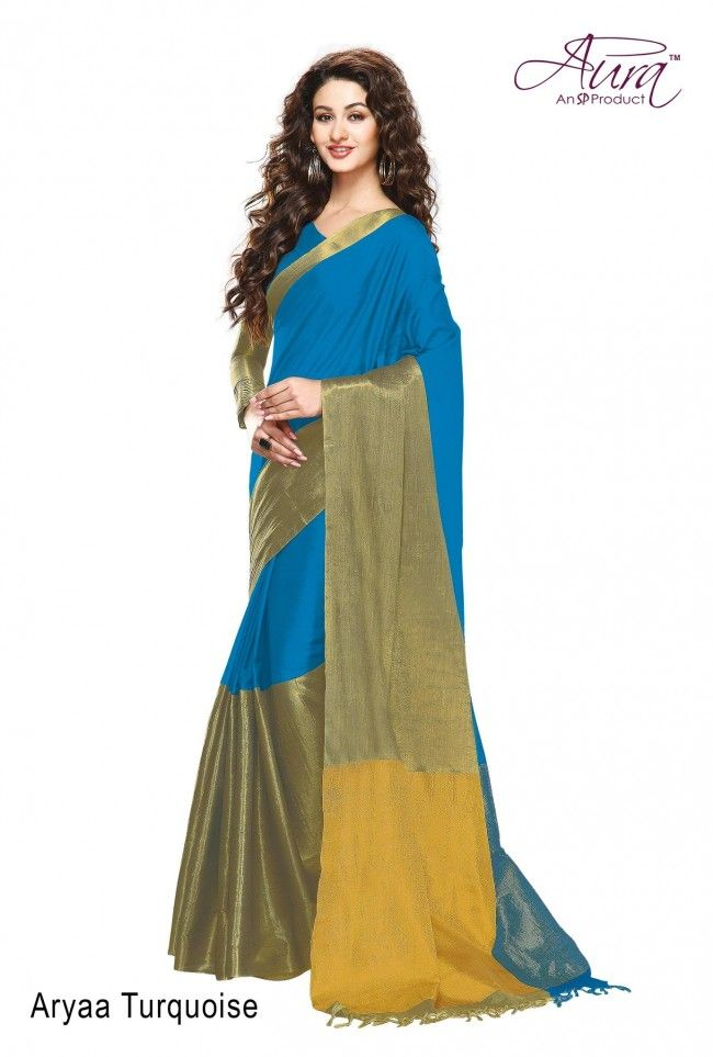 AURA BRAND Cotton Silk Sky Blue & Golden Solid Party Wear Saree