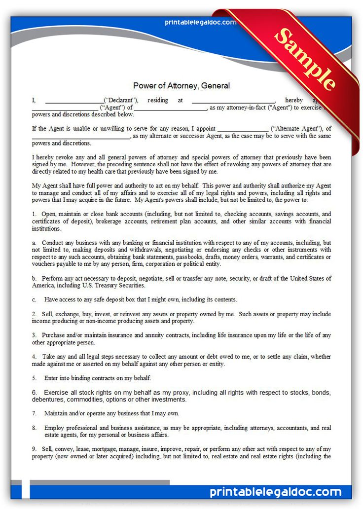 Free Printable Power Of Attorney General Legal Forms
