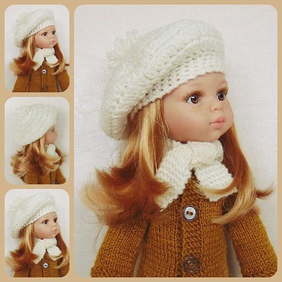 Doll beret doll hat doll scarf doll outfit doll clothes