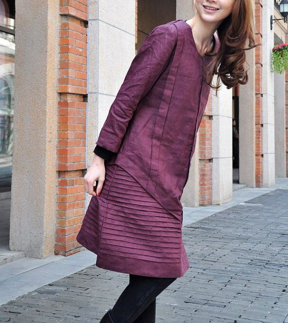 Layered Pleated Linen Dress in Purple/ Winter by camelliatune, $72.00