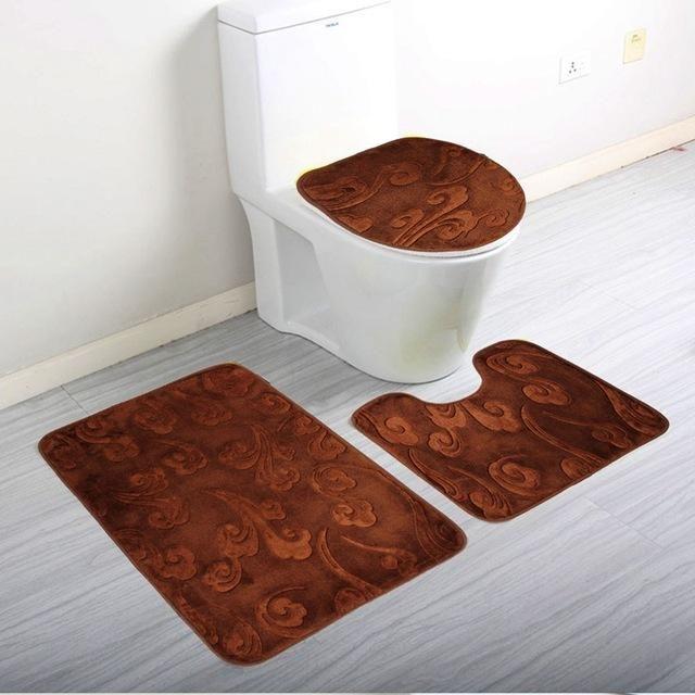 3Pcs/Set Bathroom Floor Mat Soft Coral Fleece Pedestal Mat Toilet Washable Floor Rugs Carpets