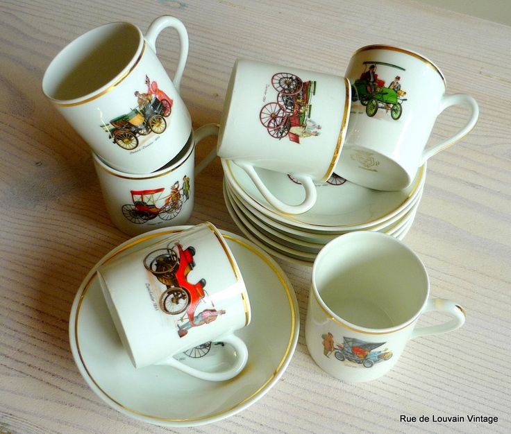 Set of 6 French porcelain coffee cups with oldtimer cars, French Compagnie Nationale fine china, demitasse or espresso cups by RueDeLouvain on Etsy
