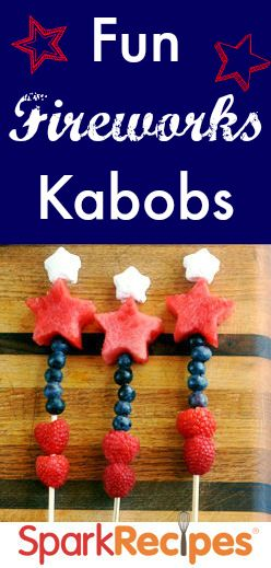 Fun Fireworks Kabobs #healthy #patrioticHealthy Fruit