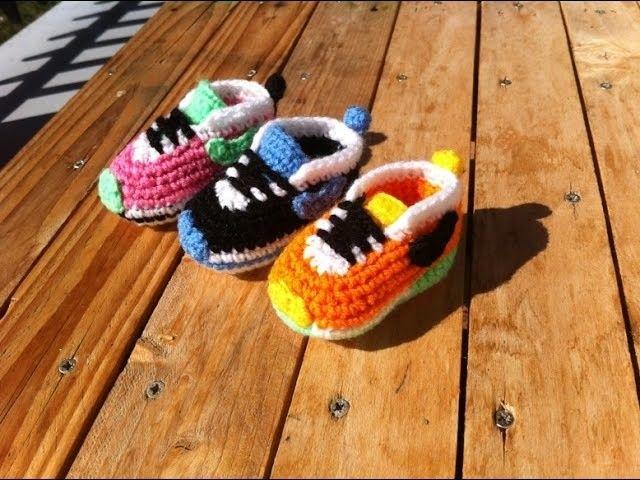 Baskets Nike bébé au crochet 1. Baby sneakers Nike crochet tutorial 1