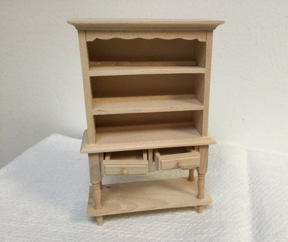 Dollhouse Miniature 3 Drawer Kitchen Cupboard with Pot Shelf Unfinished 1:12