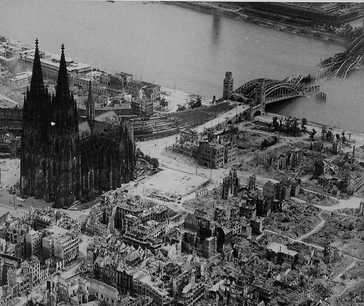 Cologne Cathedral in 1944, one of few buildings left standing after World War II air raids.