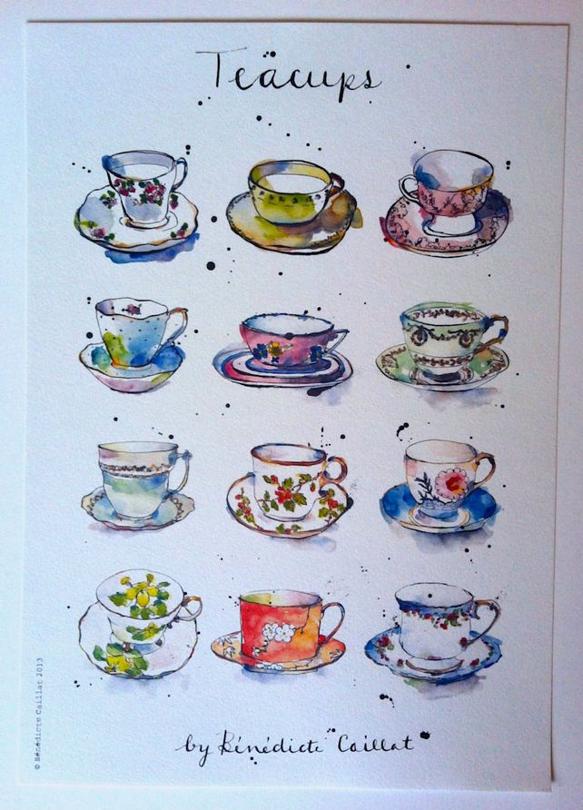 Vintage Teacups Art Print from Original Ink and Watercolour Illustration